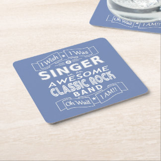 SINGER awesome classic rock band (wht) Square Paper Coaster