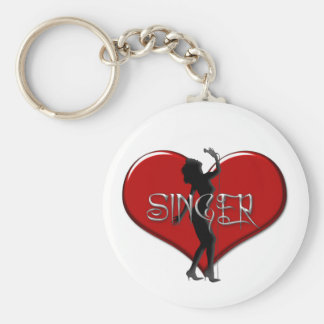 Singer I Love a Singer Heart Key Ring