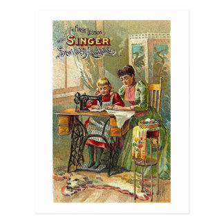 "Singer Sewing Machine Ad ""The First Lesson"" Postcard"