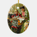 """Singer Sewing Machine """"The First Lesson"""" Vintage Christmas Ornaments"""