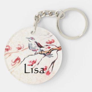 Singing Bird Background Double-Sided Round Acrylic Key Ring