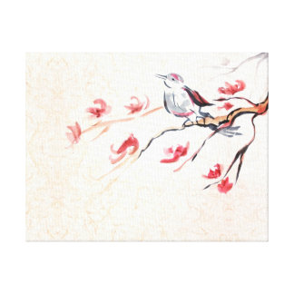 Singing Bird Background Stretched Canvas Print