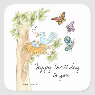 Singing Birds Birthday Sticker