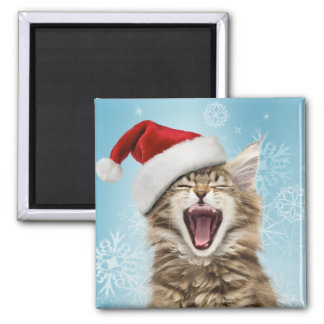 Singing Cat Christmas Magnet