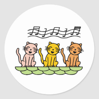Singing Cat Classic Round Sticker