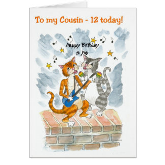 Singing Cats 12th Fun Birthday Card for a Cousin