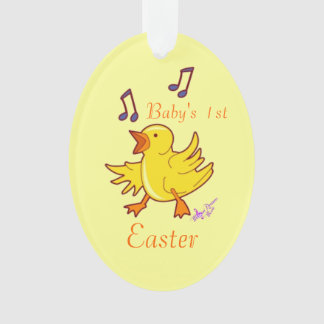 Singing Chick Baby's 1st Easter Oval Ornament