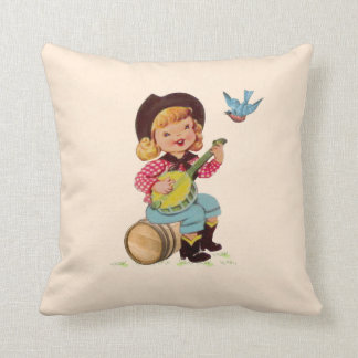Singing Cowgirl Kid Throw Pillow