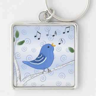 Singing Cute Bluebird Keychain