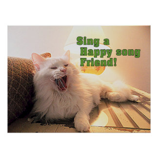 singing cute kitty poster