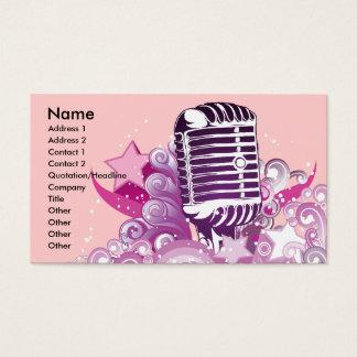 singing diva vintage microphone vector business card