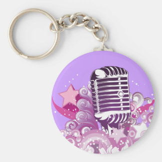 singing diva vintage microphone vector keychains