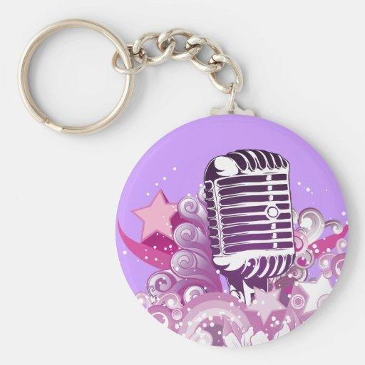 singing diva vintage microphone vector keychains