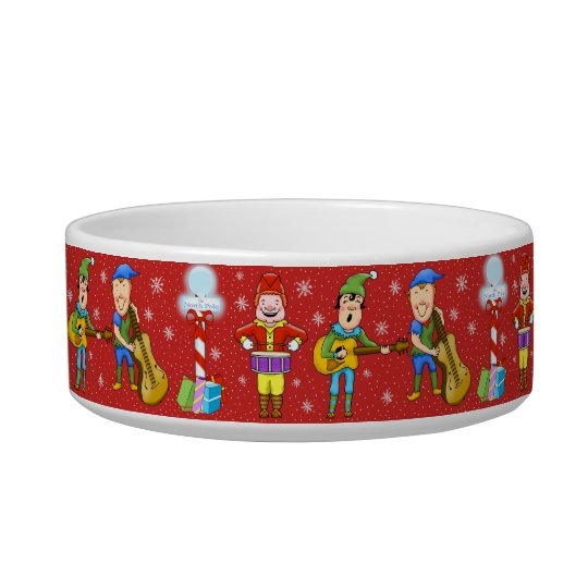 Singing Elves Christmas Dog Bowl