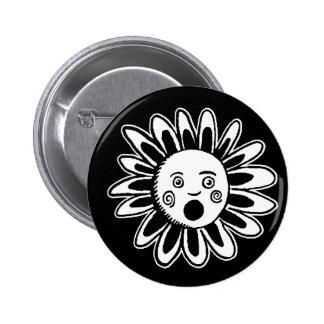 Singing Flower - Black 6 Cm Round Badge