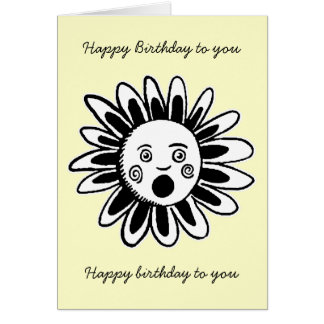 Singing Flower - Happy Birthday Song - Pale Yellow Greeting Card