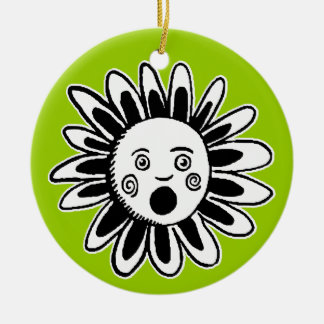Singing Flower Round Ceramic Decoration