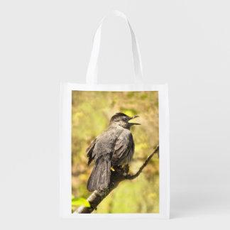 Singing Gray Catbird Reusable Grocery Bags