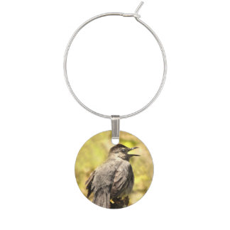 Singing Gray Catbird Wine Charm