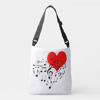 Singing Heart one-of-a-kind romantic Crossbody Bag