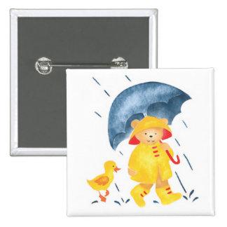 """Singing in the Rain""-Ducks and Bear 15 Cm Square Badge"