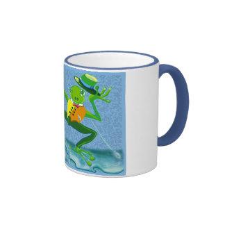singing in the rain frog mugs