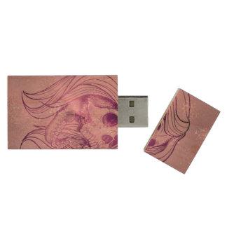singing lady skull,pink wood USB 2.0 flash drive