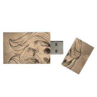 singing lady skull,silver wood USB 2.0 flash drive