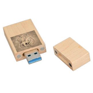 singing lady skull,silver wood USB 3.0 flash drive