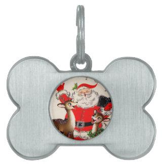 Singing Santa and Reindeer Pet Tag