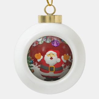 Singing Santa Claus Ceramic Ball Christmas Ornament