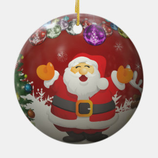 Singing Santa Claus Ceramic Ornament