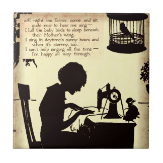 Singing Sewing Lady Vintage Fairy Poem Tile