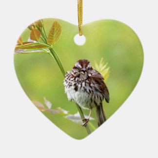 Singing Sparrow Ceramic Ornament