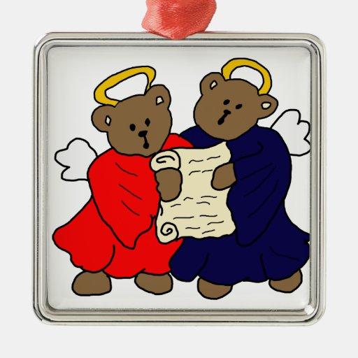 Singing Teddy Bear Angels Christmas Ornament
