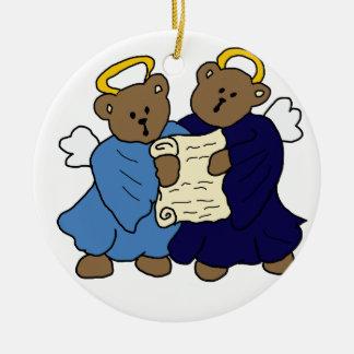 Singing Teddy Bear Angels Christmas Tree Ornament