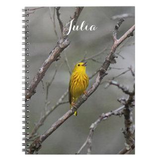 Singing Yellow Warbler Spiral Notebook