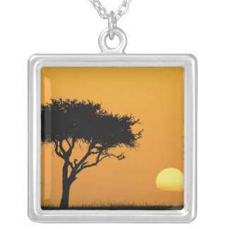Single Acacia tree silhouetted at sunrise, Masai Silver Plated Necklace