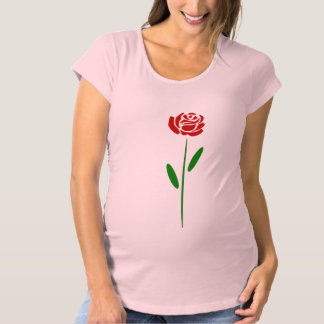 Single Art Deco Red Rose Green Leaves and Stem Maternity T-Shirt