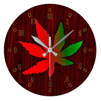 Single Autumn Leaf on Dark Wood by Julie Everhart Clocks