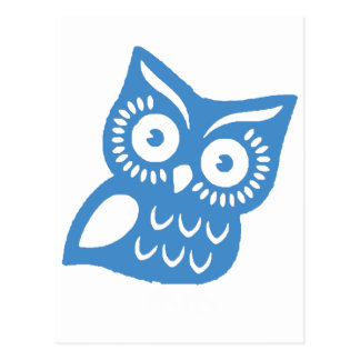 Single Blue Owl Postcard