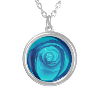 Single Blue Rose - Silver Plated Necklace