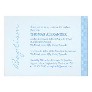Single Blue Stripe Baptism 11 Cm X 16 Cm Invitation Card
