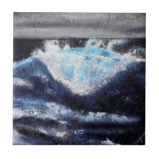 Single Blue Wave Ceramic Tile