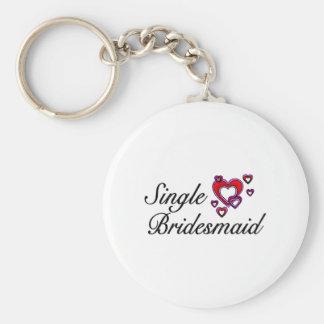 Single Bridesmaid Basic Round Button Key Ring