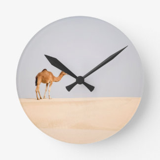 Single camel on Arabian sand dunes Wall Clocks