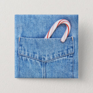 Single Candy Cane in Denim Pocket 15 Cm Square Badge