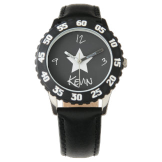 Single Centered White Star Personalized Watch