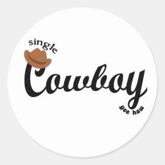 single cowboy yeehaw round sticker