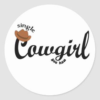 single cowgirl yeehaw round sticker